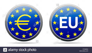 Blue Flag Stars In Circle Euro Sign Button Eu Button With Gold Yellow Stars And Light