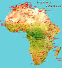 Sub Saharan Africa Map by Cultural Places African World Heritage Sites