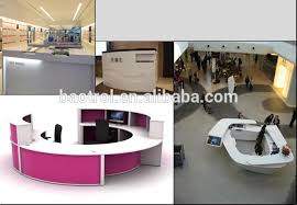 Marble Reception Desk C Shape Acrylic Marble Receiption Counter Half Round Acrylic