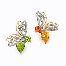 peridot earrings abeille orange sapphire and peridot earrings chaumet the