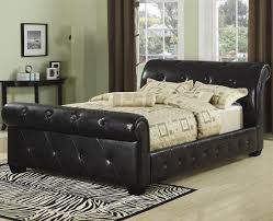Upholstered Sleigh Bed 304240 Upholstered Sleigh Bed By Coaster In Black Faux Leather