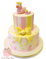 Yellow Duck Baby Shower Decorations Mesmerizing Pink And Yellow Baby Shower Cake 74 For Your Baby