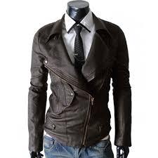 leather biker jacket slim fit leather jacket multi pocket brown biker jacket