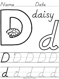 alphabet letter d daisy d u0027nealian manuscript handwriting practice