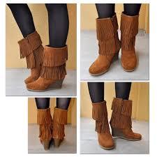 womens fringe boots size 11 44 minnetonka boots minnetonka calf high fringe boot