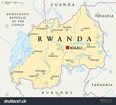 Africa Map Rivers Rwanda Political Map Capital Kigali National Stock Vector