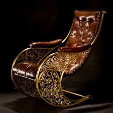 Antique Chair Styles by Antique Tufted Leather Rocking Chair With Padded Arms And Filigree