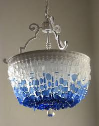 Nantucket Ceiling Light Sea Glass Chandelier Lighting Flush Mount Ceiling Light Fixture