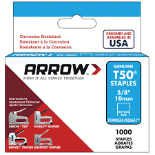 Best Staple Size For Upholstery Arrow Fastener T50 3 8 In Crown 16 Gauge Stainless Steel Staples