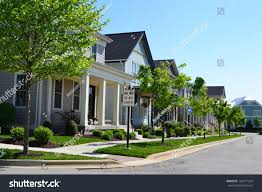 New England Homes by Suburban Neighborhood New England Style American Stock Photo