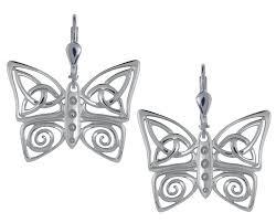 silver celtic butterfly earrings