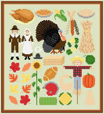 autumn image collection cross stitch pattern thanksgiving