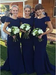mermaid cap sleeves blue wedding party dresses bridesmaid