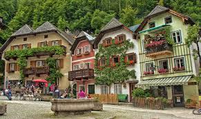 building square flower fountain hallstatt hallstatt austria hd