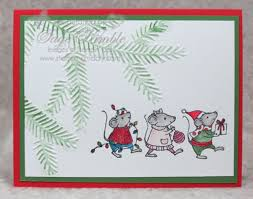 fun handmade christmas card with merry mice stamp set stamping madly