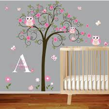 baby nursery decor vinyl mural wall decals baby girl nursery vinyl mural wall decals baby girl nursery sample swirls initial kids named personal own taste owl animal floral
