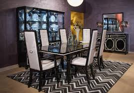 decorating leather seat dining chairs and table by michael amini