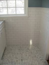 glamorous subway tile wainscoting bathroom images decoration ideas