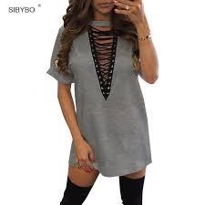 aliexpress com buy sibybo summer t shirt dress 2017 women deep v