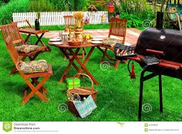 backyard summer bbq u0026 cocktail party scene stock photo image