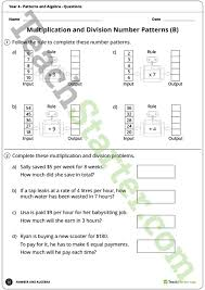 patterns and algebra worksheets year 4 teaching resource u2013 teach