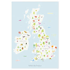 Cherry Blossom Map Holly Francesca Map Of British Isles Produce Print Truce