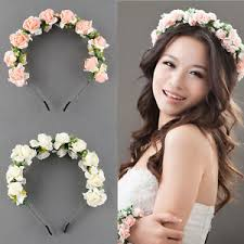 prom hair accessories flower garland floral bridal headband hairband wedding prom hair