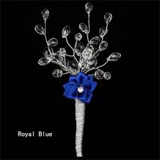 royal blue boutonniere 5 pieces lot acrylic bead pearls silk flower groom