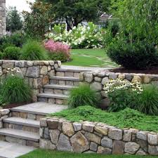 natural stone retaining walls and steps to fight erosion and to