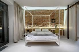 Bedroom Bed In Corner Simple Canopy Bed In Black Colors With Golden Corner Lines