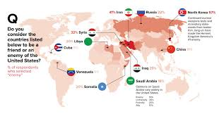 the united states of america and neighbouring countries map infographic which country is america s enemy