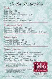 bridal hair prices menu of services and prices bellas beauty bar