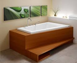 bathroom modern built in freestanding bathtub design with wood