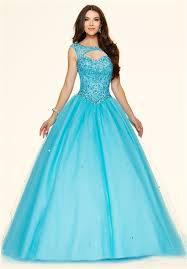 ball gown cut out open back blue tulle beaded corset prom dress