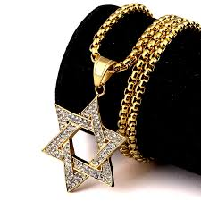 charm chains necklace images Charm jewelry gift chains golden bling judaism jewish six jew jpg