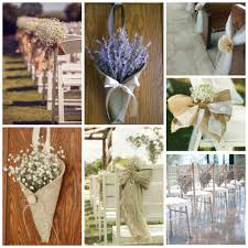 wedding pew bows burlap wedding decor