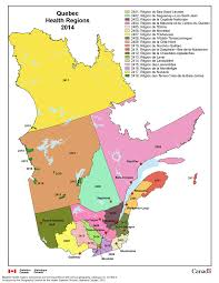 Map Of Quebec Canada by Quebec Health Regions Health Regions 2014