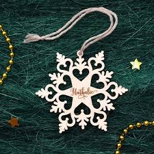 personalized ornaments wooden snowflake wood