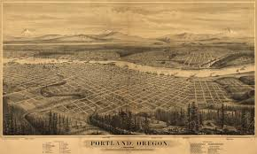 Portland Bridges Map by Bird U0027s Eye View Of Portland 1879 Portland And Portland Oregon