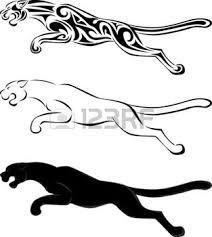 panthere silhouette et tatouage tribal jaguar design