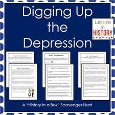 the great depression history in a box scavenger hunt research