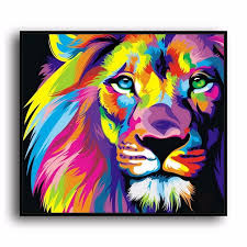 imagenes abstractas hd de animales a3492 pintura abstracta color animal de león hd canvas print