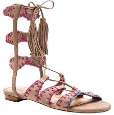 schutz putty pink willow genuine suede embroidered lace up