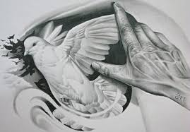 amazing dove tattoo with hand sketch