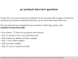 Pr Resume Samples by Pr Assistant Interview Questions