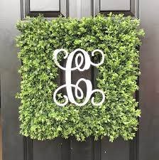 custom painted monogram artificial boxwood wreath square or round