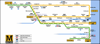Metro Rail Map by Newcastle Metro Map England