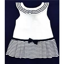 paz rodriguez paz rodriguez knit newborn dress navy white nav