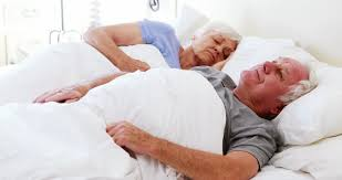Lovely Couple In Bed Lying In Bedroom Beautiful Husband Retired Man Lying With His Lovely Sleeping Wife