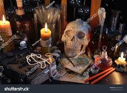 scary still life tarot cards skull stock photo 436432945